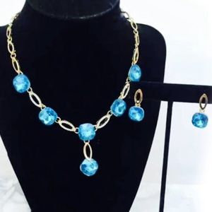 Gorgeous Goldtone Crystal Statement Necklace Set